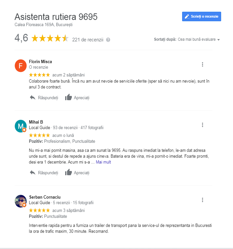 testimoniale google reviews
